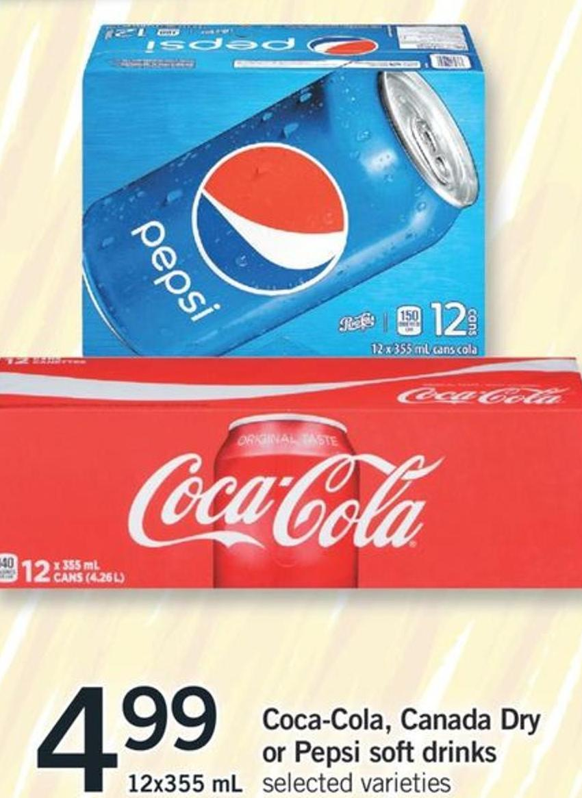 Coca-cola - Canada Dry Or Pepsi Soft on sale | Salewhale ca