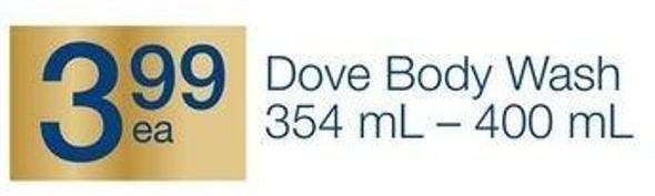 Dove Body Wash 354 mL - 400 mL