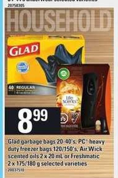 Glad Garbage Bags - 20-40's - PC Heavy Duty Freezer Bags - 120/150's - Air Wick Scented Oils - 2 X 20 Ml Or Freshmatic - 2 X 175/180 G