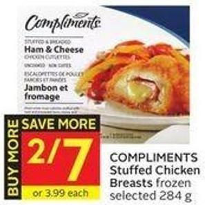 Compliments Stuffed Chicken Breasts Frozen Selected 284 g