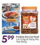 Friskies Dry Cat Food 1.4-1.5 Kg or Party Mix Tub 454 g