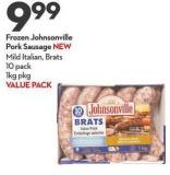 Frozen Johnsonville  Pork Sausage New Mild Italian - Brats 10 Pack 1kg Pkg