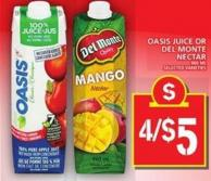 Oasis Juice Or Del Monte Nectar - 960 mL