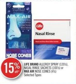 Life Brand Allergy Spray (120's) - Nasal Rinse Sachets (100's) or Mix Air Nose Cones (4's)