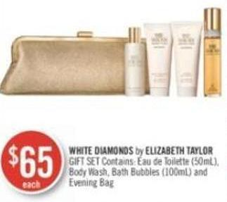 White Diamonds By Elizabeth Taylor Gift Set Contains Toilette (50ml) - Body Wash - Bath Bubbles (100ml) and Evening Bag