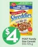 Post Family Size Cereals