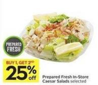 Prepared Fresh In-store Caesar Salads Selected