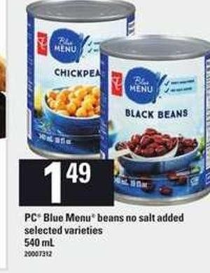 PC Blue Menu Beans No Salt Added - 540 mL