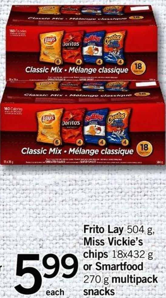 Frito Lay 504 G - Miss Vickie's Chips 18x432 G Or Smartfood 270 G Multipack Snacks