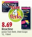 Reactine Junior Fast Melt - Child Grape 12 - 118ml