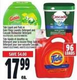 Tide Liquid And PODS Or Gain Flings Laundry Detergent And Cascade Dishwasher Detergent