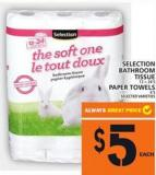 Selection Bathroom Tissue Or Paper Towels