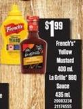 French's Yellow Mustard - 400 Ml - La Grille Bbq Sauce - 435 Ml