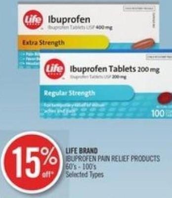 Life Brand Ibuprofen Pain Relief Products 60's - 100's