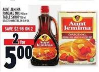 Aunt Jemima Pancake Mix 905 G Or Table Syrup 750 Ml