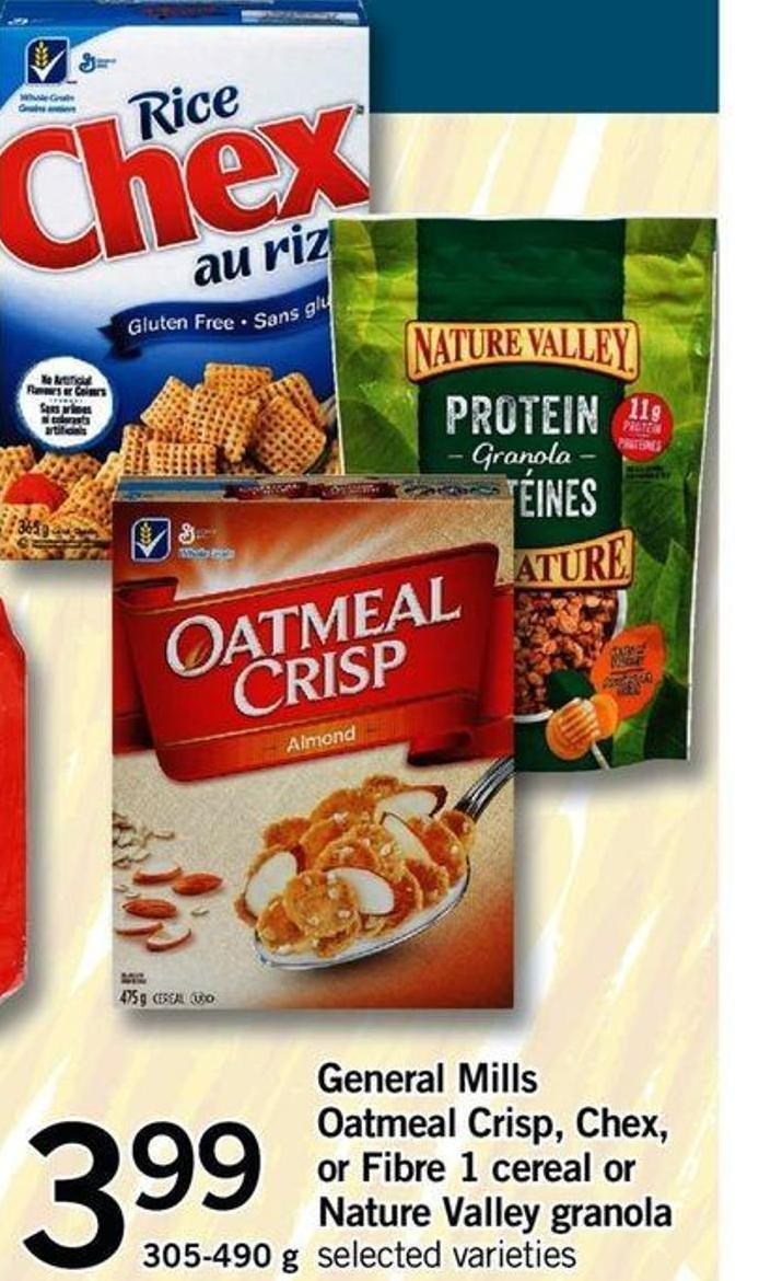 General Mills Oatmeal Crisp - Chex - Or Fibre 1 Cereal Or Nature Valley Granola - 305-490 G