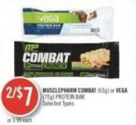 Musclepharm Combat (63g) or Vega (70g) Protein Bar