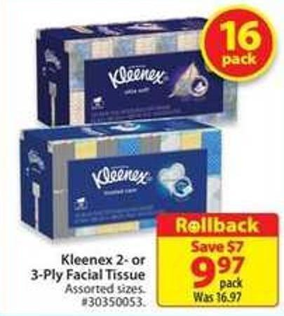 Kleenex 2- or 3-ply Facial Tissue