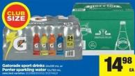 Gatorade Sport Drinks - 24x591 Ml Or Perrier Sparkling Water - 12x750 Ml