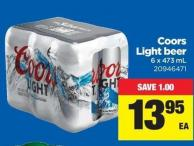Coors Light Beer - 6 X 473 mL