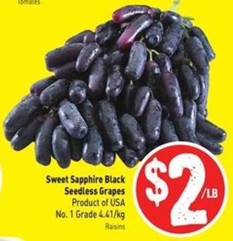 Sweet Sapphire Black Seedless Grapes Product of USA No. 1 Grade 4.41/kg