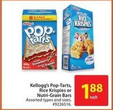 Kellogg's Pop-tarts.rice Krispies or Nutri-grain Bars