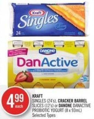 Kraft Singles (24's) - Cracker Barrel Slices (12's) or Danone Danactive Probiotic Yogurt (8 X 93ml)