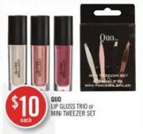 Quo Lip Gloss Trio or Mini Tweezer Set