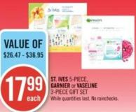 St. Ives 5-piece - Garnier or Vaseline 3-piece Gift Set