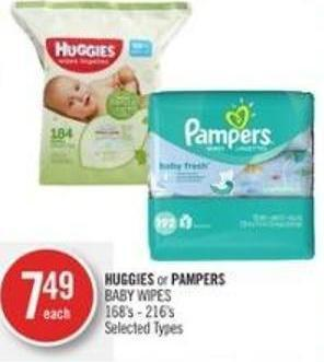 Huggies or Pampers Baby Wipes 168's - 216's