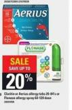 Claritin Or Aerius Allergy Tabs - 20-84's Or Flonase Allergy Spray - 60-120 Dose