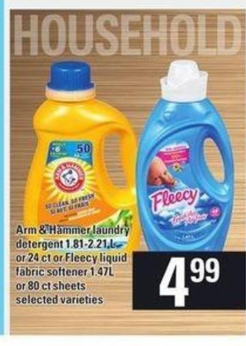Arm & Hammer Laundry Detergent 1.81-2.21 L Or 24 Ct Or Fleecy Liquid Fabric Softener 1.47l Or 80 Ct Sheets