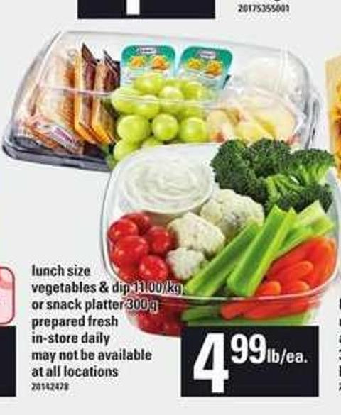 Lunch Size Vegetables & Dip Or Snack Platter - 300 G