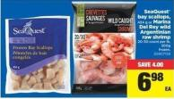 Seaquest Bay Scallops - 454 G Or Marina Del Rey Wild Argentinian Raw Shrimp 20-30 Count Per Lb - 300g