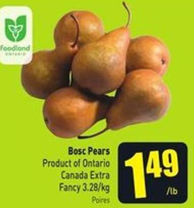 Bosc Pears Product of Ontario Canada Extra Fancy 3.28/kg
