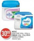 Nestlé Good Start (600g - 650g) or Similac (638g - 658g) Infant Formula Powder