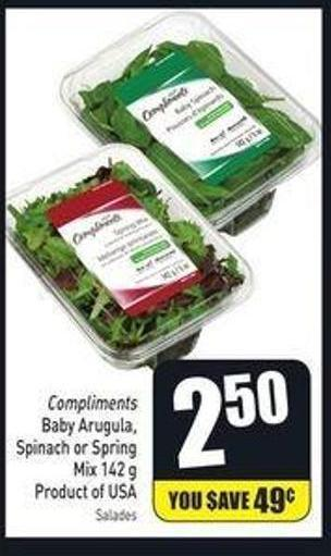 Compliments Baby Arugula - Spinach or Spring