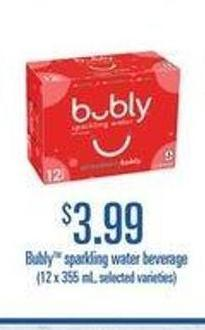 Bubly Sparkling Water Beverage 12 X 355 ml