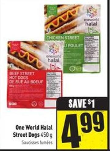 One World Halal Street Dogs 450 G0