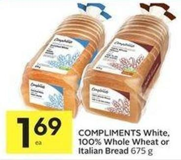 Compliments White or 100% Whole Wheat Bread
