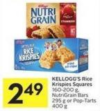 Kellogg's Rice Krispies Squares 160-200 g - Nutrigrain Bars 295 g or Pop-tarts 400 g