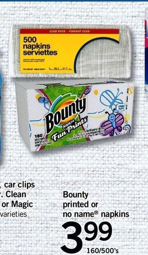 Bounty Printed Or No Name Napkins