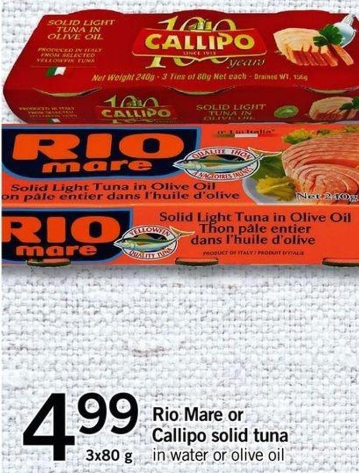 Rio Mare Or Callipo Solid Tuna - 3x80 G