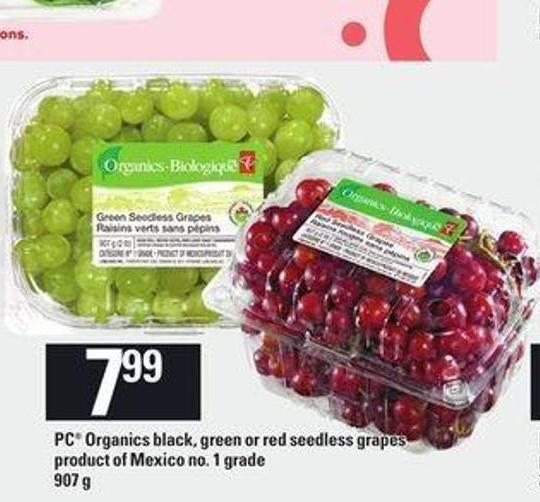 PC Organics Black - Green Or Red Seedless Grapes - 907 g