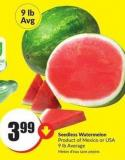 Seedless Watermelon Product of Mexico or USA 9 Lb Average