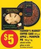 Farmer's Market Coffee Cake - 850 g or Apple or Pumpkin Pie - 960 G/1 Kg
