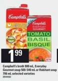 Campbell's Broth - 900 Ml - Everyday Gourmet Soup - 500-540 Ml Or Habitant - Soup 796 Ml