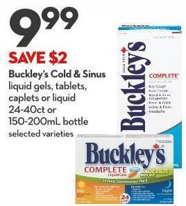 Buckley's Cold & Sinus Liquid Gels - Tablets - Caplets or Liquid 24-40ct or 150-200ml Bottle
