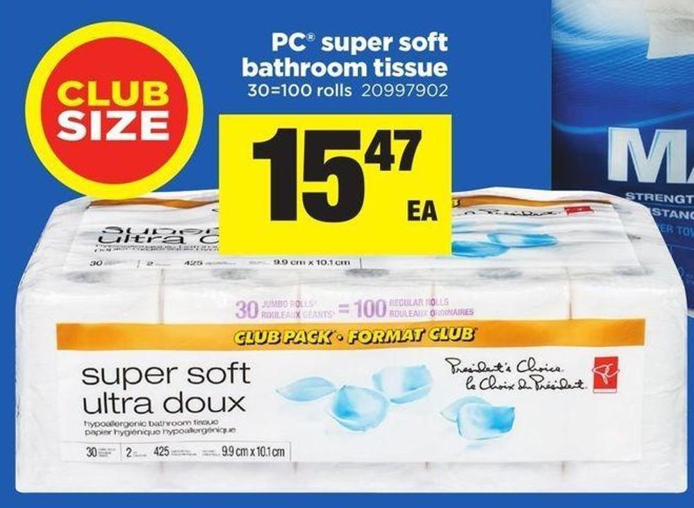 PC Super Soft Bathroom Tissue - 30=100 Rolls