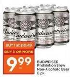 Budweiser Prohibition Brew Non-alcoholic Beer 6 Pk